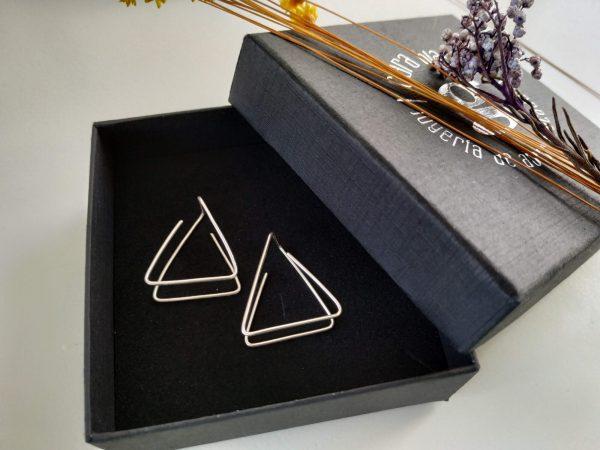 Pendientes plata triángulo