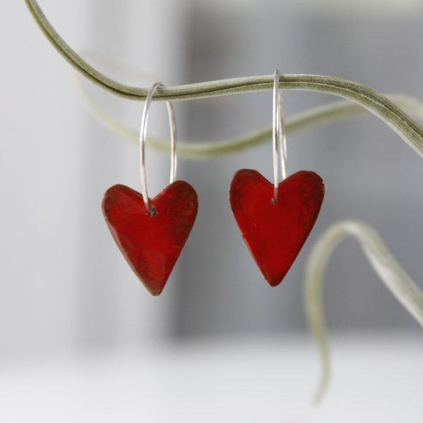 Pendientes corazon esmaltado