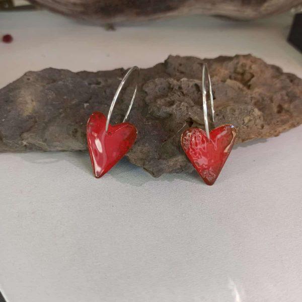 pendientes corazon rojo