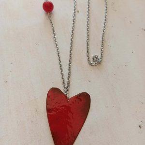 colgante corazon rojo