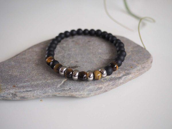 pulsera obsidiana y acero