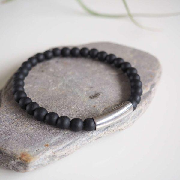 pulsera obsidiana y pieza acero